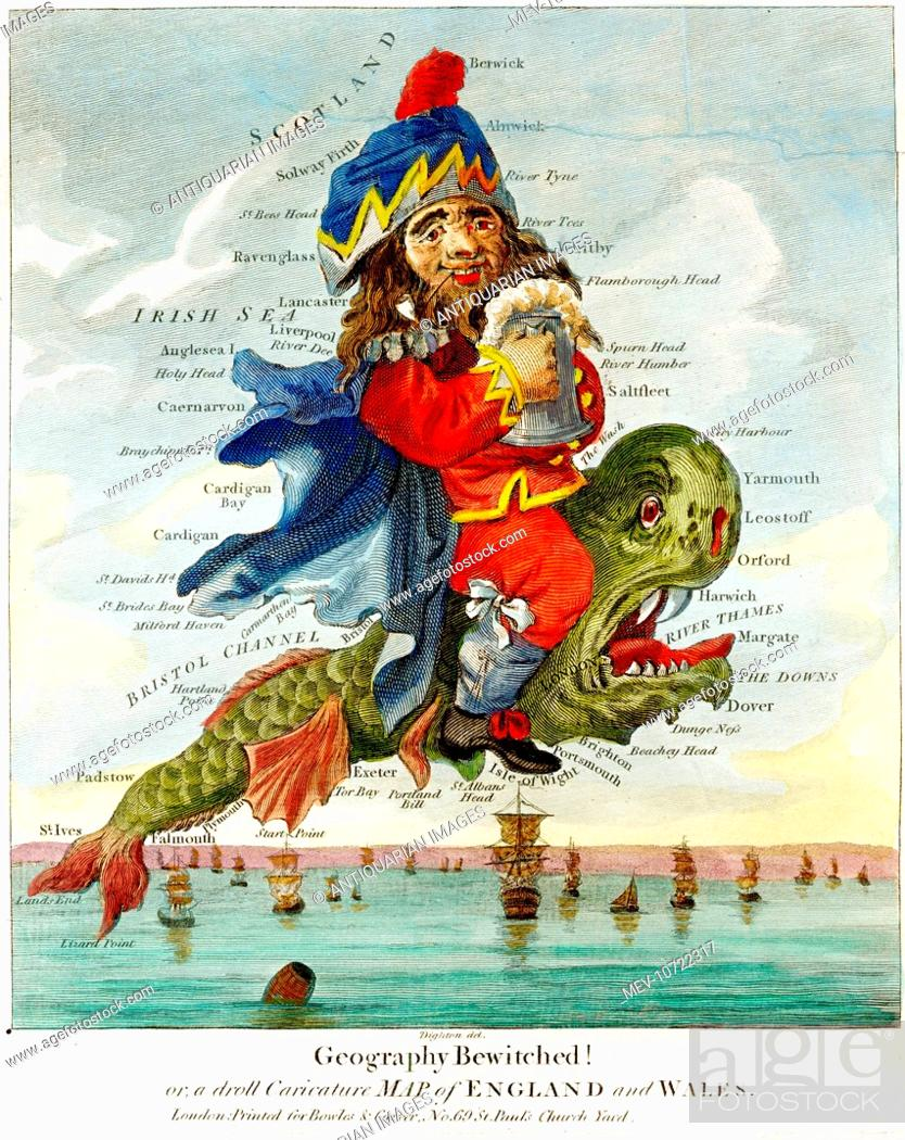 Geography Map Of England.18th Century Cartoon Map Of England And Wales Geography Bewitched