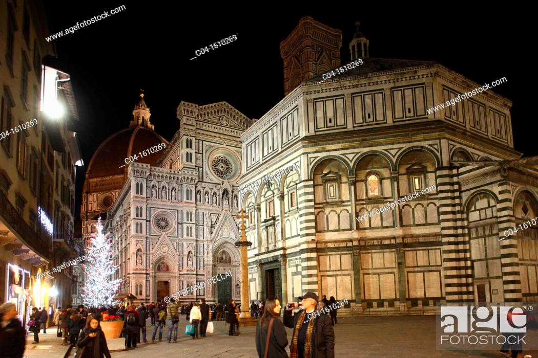Stock Photo: Baptistery and cathedral, Florence, Tuscany, Italy.