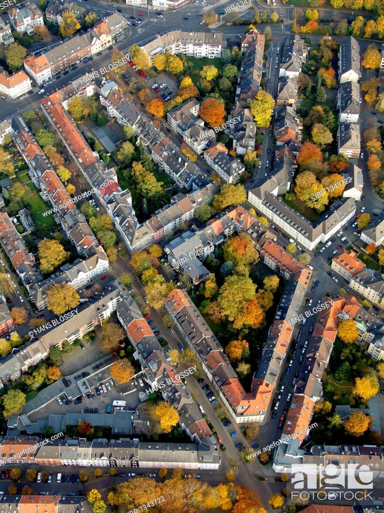 Photo de stock: Aerial view, block perimeter development, Ruettenscheid, Essen, Ruhr Area, North Rhine-Westphalia, Germany, Europe.