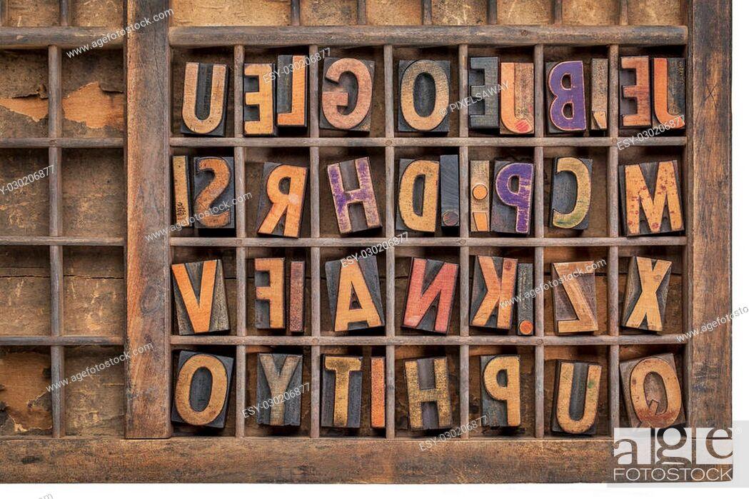 vintage letterpress wood type printing blocks in a grunge typesetter