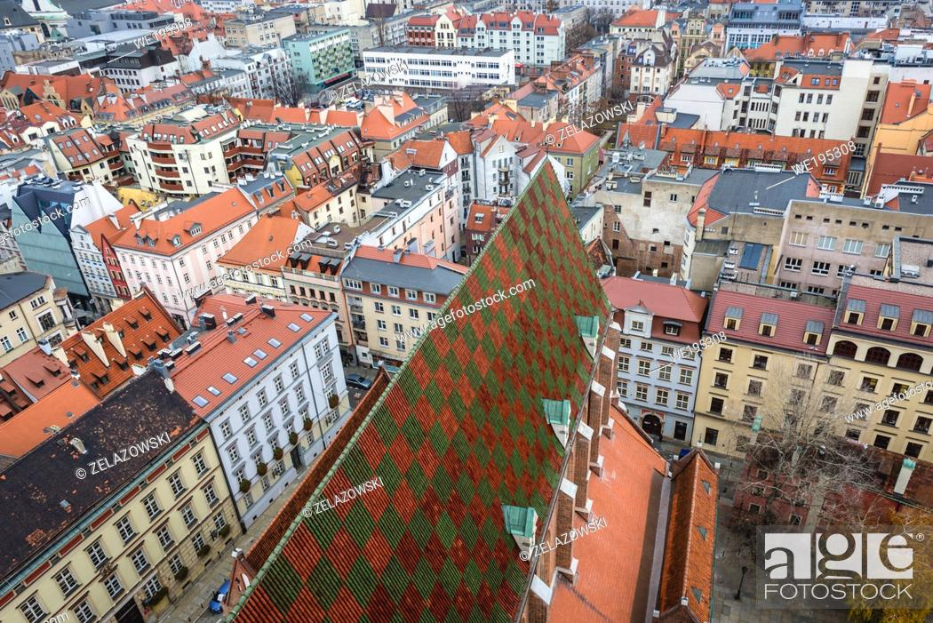 Stock Photo: Aerial view from tower of Basilica of Saint Elisabeth - Garrison Church in Old Town of Wroclaw, Poland.