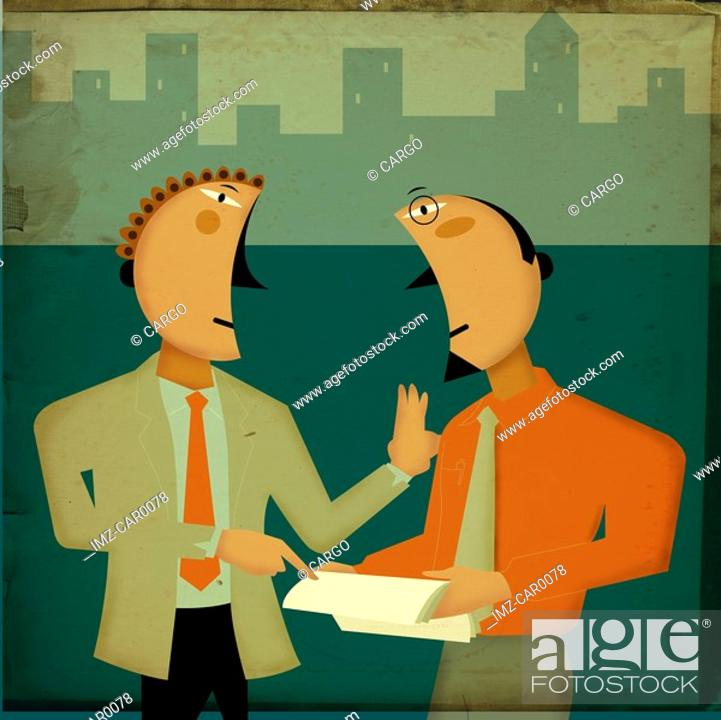 Stock Photo: Two businessmen discussing documents.