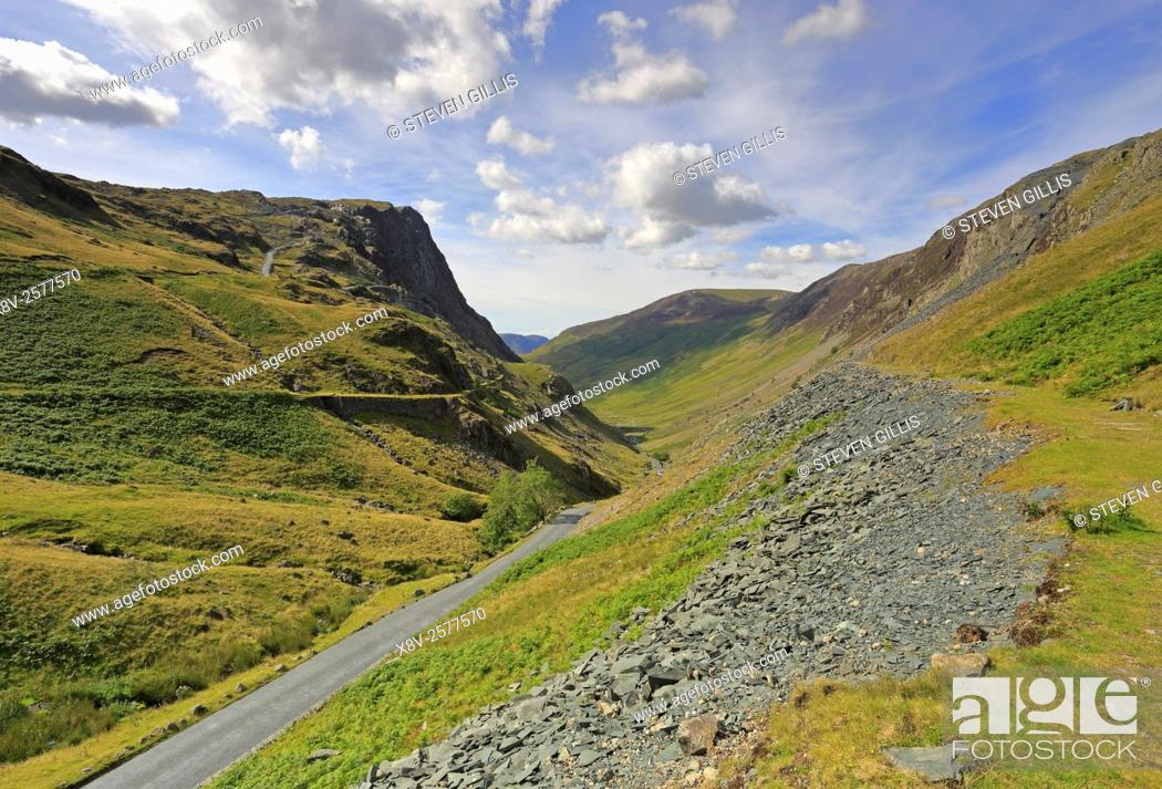 Stock Photo: Honister Pass in Cumbria, Lake District National Park, England, UK.