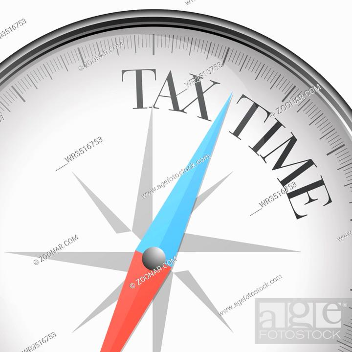 Stock Photo: detailed illustration of a compass with Tax Time text, eps10 vector.