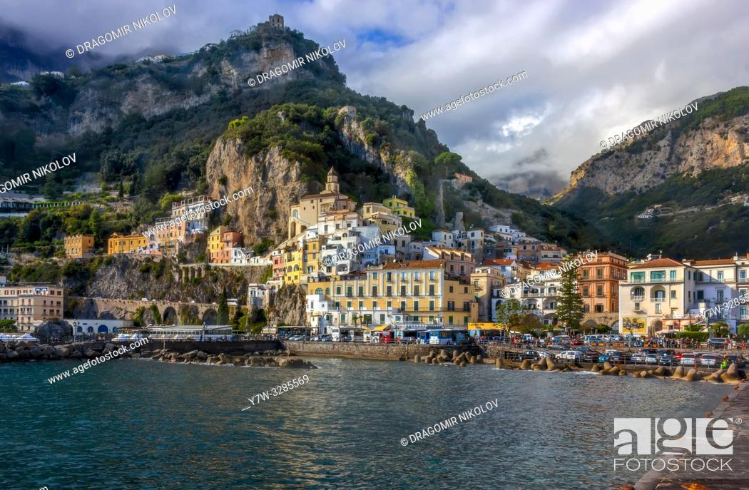 Stock Photo: Amalfi cost in Italy. . I am absolutely sure Amalfi is the most beautiful town by Naples cost. I was there in October 2018.