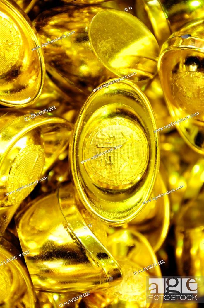 Stock Photo: Gold ingots at a market stall, Dihua Street, Taipei, Taiwan.