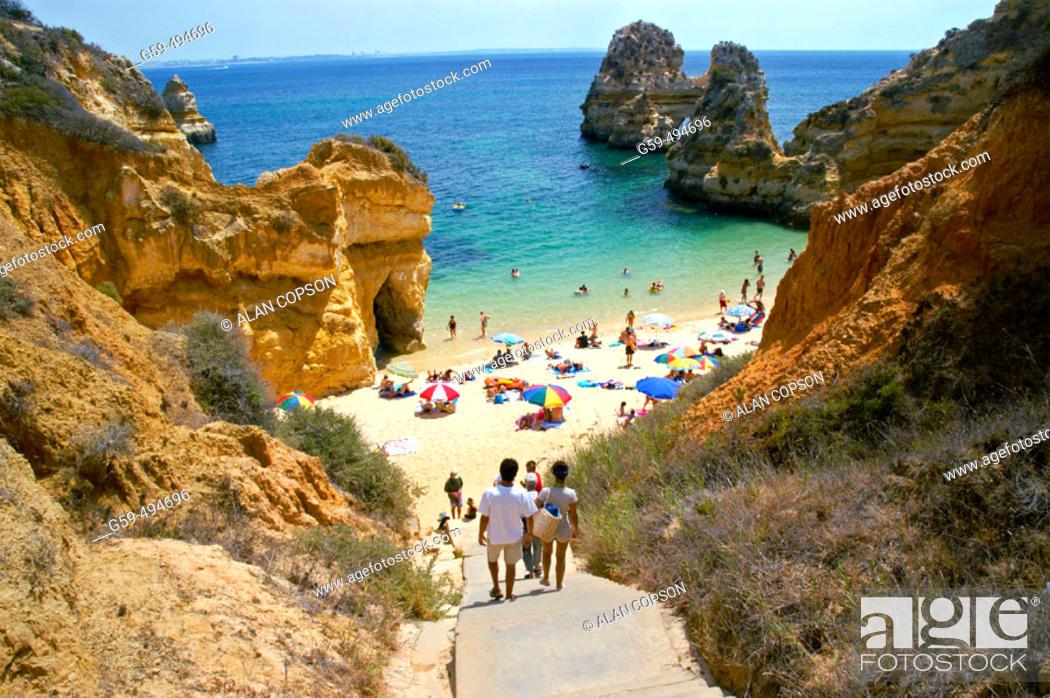Stock Photo: Portugal, Algarve, Lagos, Praia do Camilo (Camilo Beach).