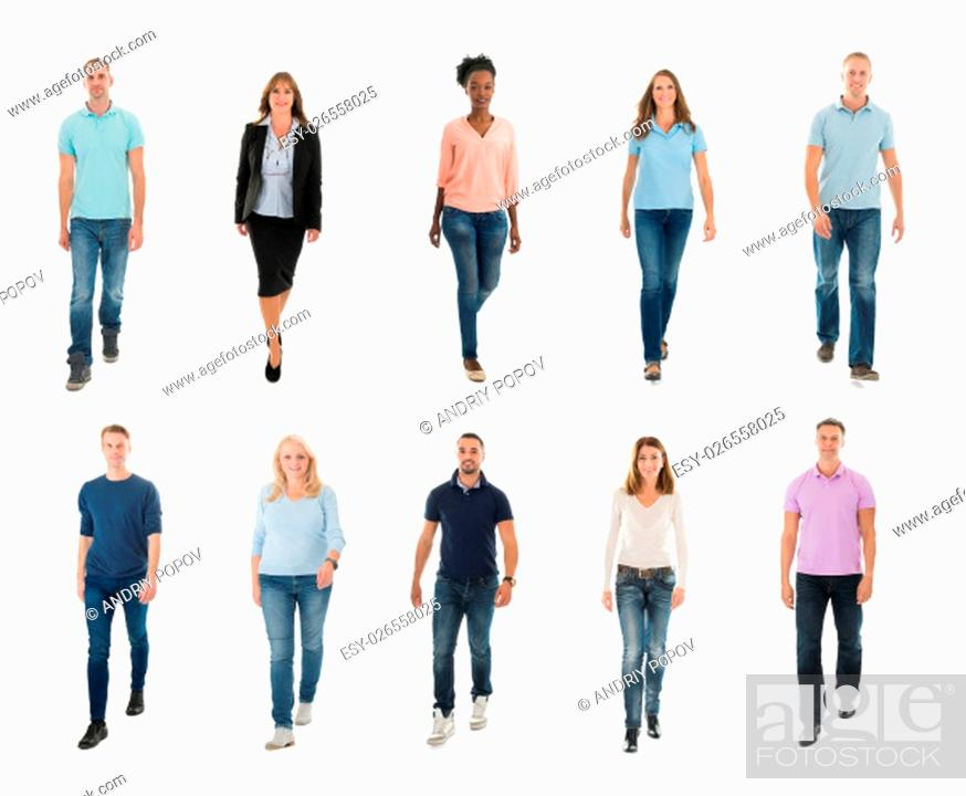 Stock Photo: Collage Of Happy Creative People Walking Over White Background.