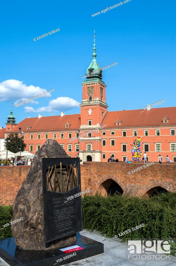 Stock Photo: Katyn Memorial dedicated to the victims of the Katyn Massacre in 1940 in Warsaw, Royal Castle, Warsaw, Poland.