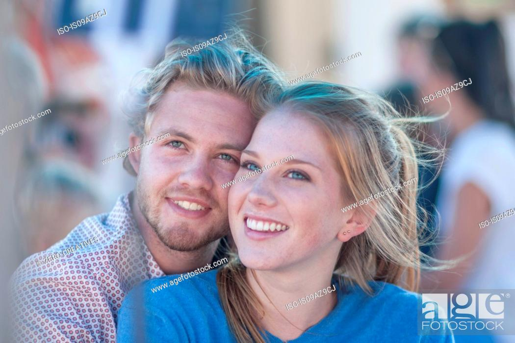 Stock Photo: Portrait of young tourist couple on boat trip, Cape Town, South Africa.