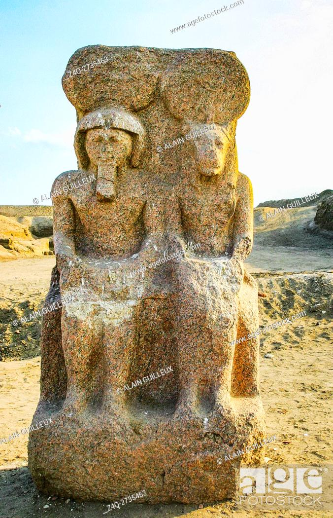 Stock Photo: Egypt, Nile Delta, Tanis, the temple of Mut and Khonsu, previously called temple of Anta : Dyad of the King Ramses as god Khonsu, with his symbolic mother Mut.