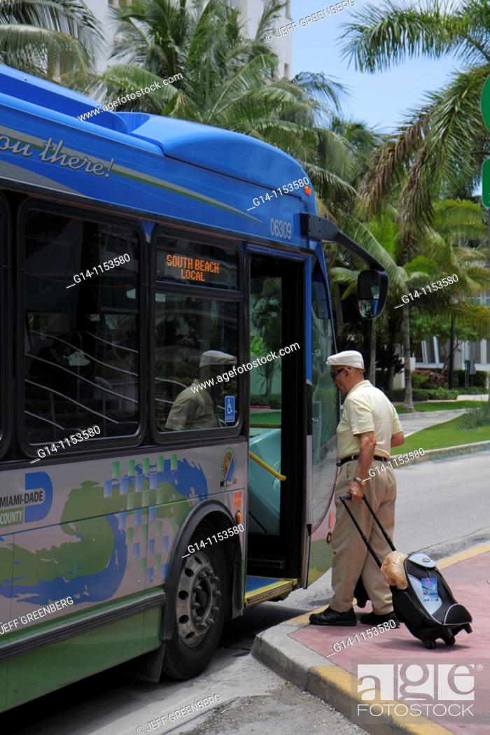 Stock Photo Florida Miami Beach Dade Metrobus South Local Public Transportation M Transit Bus Stop Commuter Boarding Hispanic