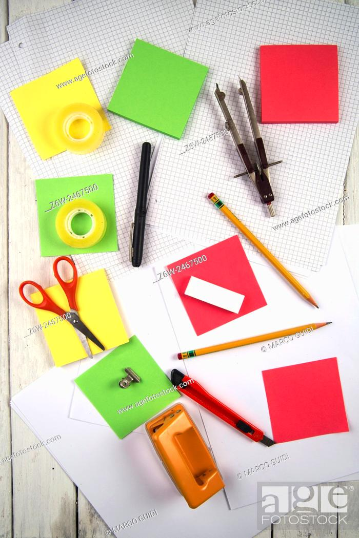 Stock Photo: Presentations of various essential accessories for the modern school.