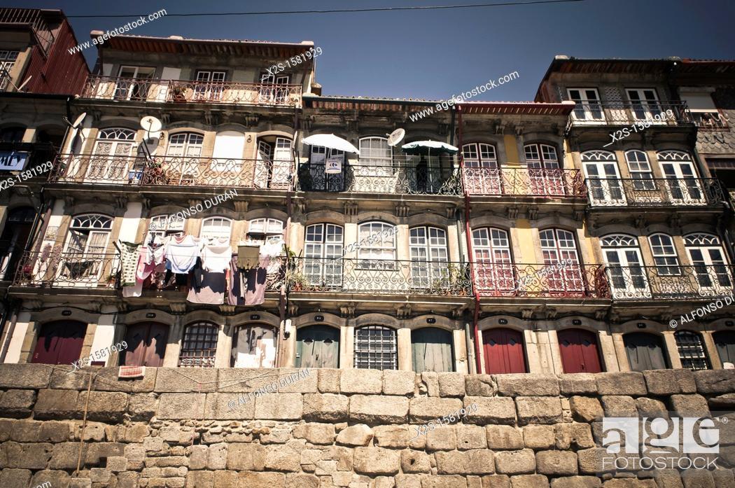 Stock Photo: port facades, Porto, Portugal.
