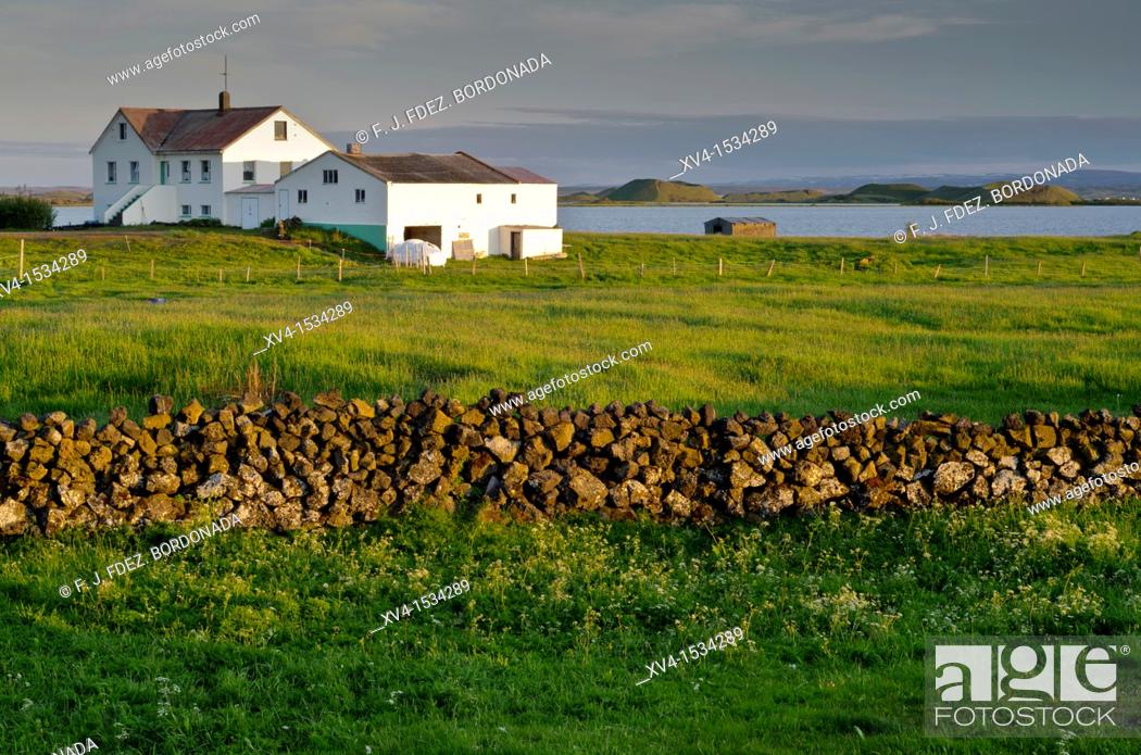 Stock Photo: Myvatn area on sunset  Iceland.