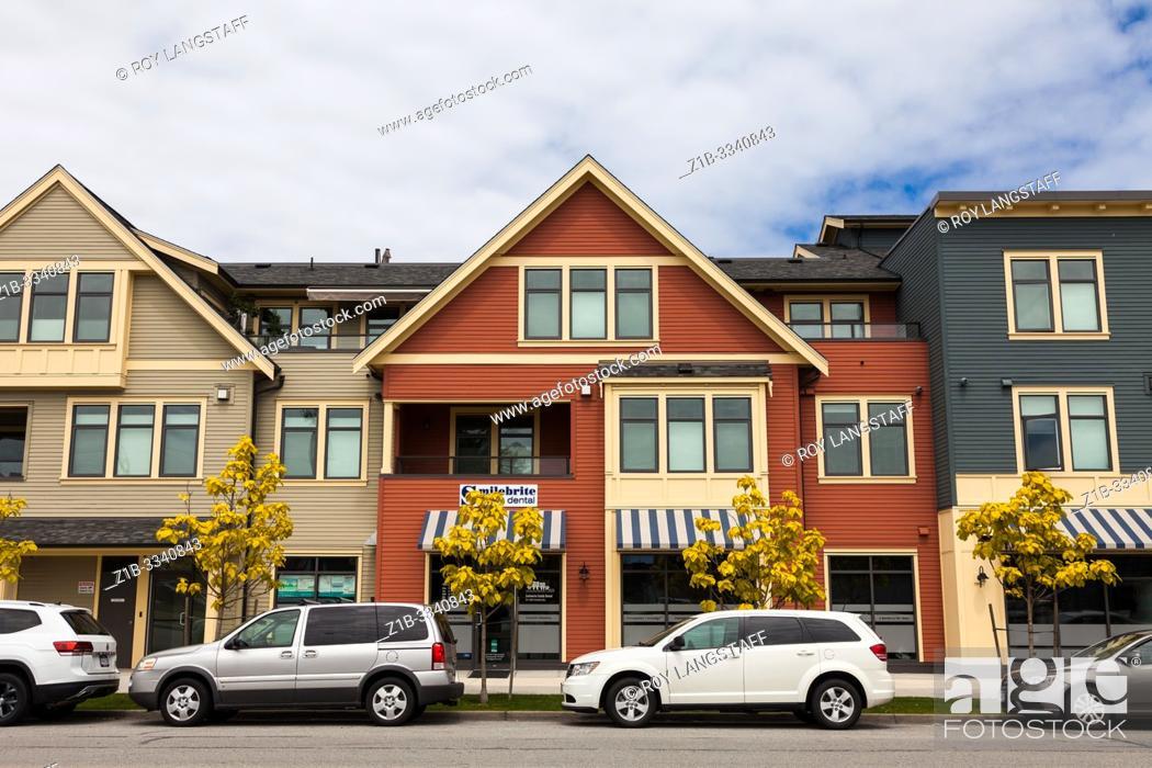 Stock Photo: New architecture along Chatham Street in Steveston British Columbia Canada.