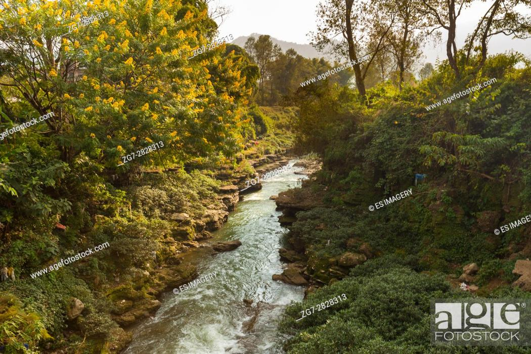 Stock Photo: The Pardi Khola runs through a small gorge in the Nepal countryside near Pokhara, Nepal.