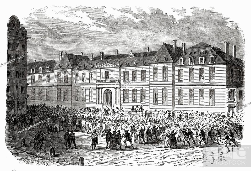 Stock Photo: The condemned are led through the streets of Paris to be executed in the gillotine. France. Old 19th century engraved illustration from Histoire de la.