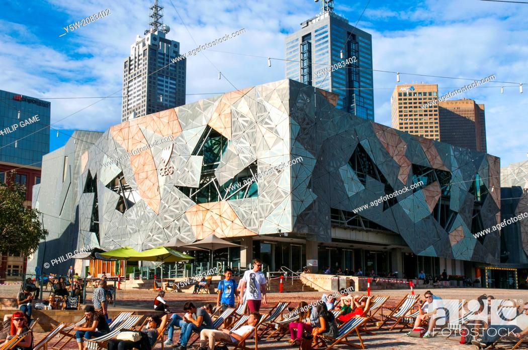 Stock Photo: Federation Square, Melbourne on a summer evening.