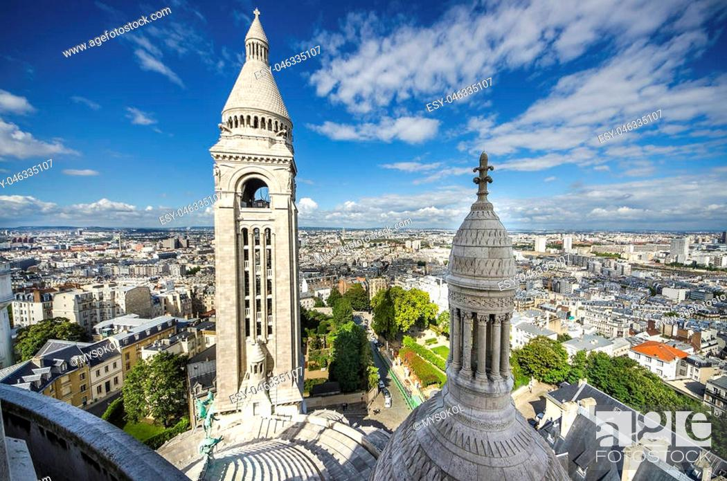 Stock Photo: View of Paris from the Sacre Coeur in Montmartre hill, rooftop of Basilica Cathedral.