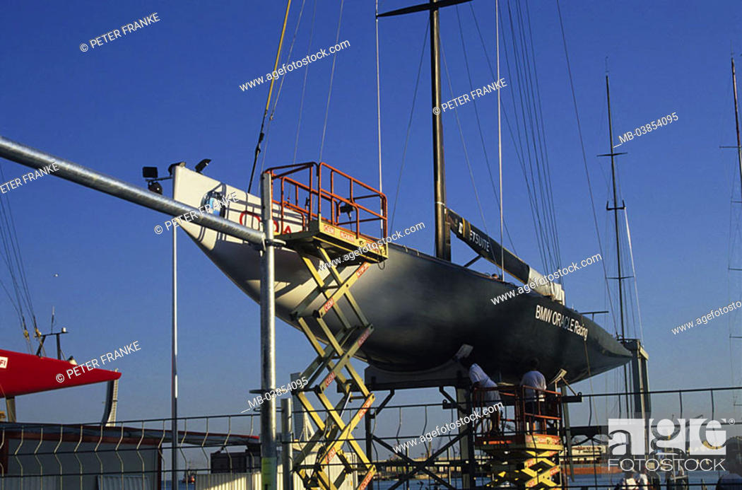 Spain, Valencia, harbor, dry-dock, sailboat, detail, workers