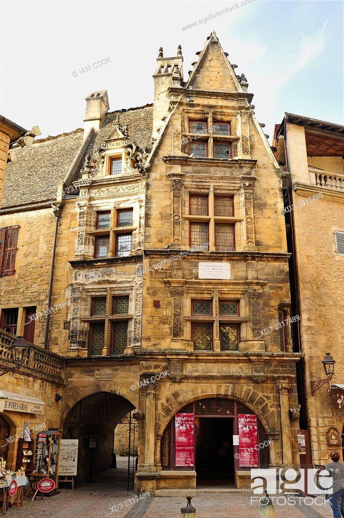 Stock Photo: Etienne laBoetie House, Rue Montaigne, Sarlat-la-Caneda, Dordogne Department, Aquitaine, France.