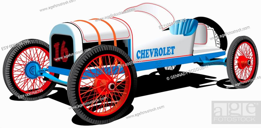 Stock Photo: Detailed vectorial image of old sport car isolated on white background.