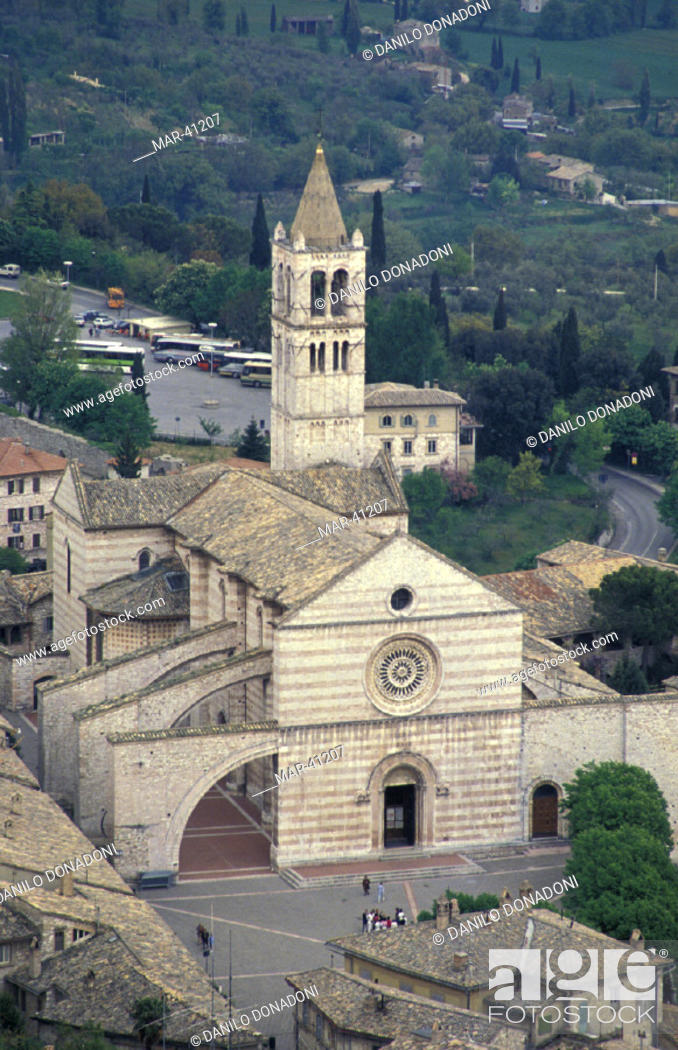 Stock Photo: santa chiara church, assisi, italy.