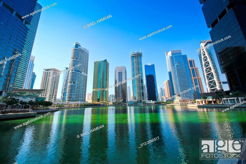 Stock Photo: Modern high-rise apartment towers at Jumeirah Lakes Towers JLT at Dubai, UAE.