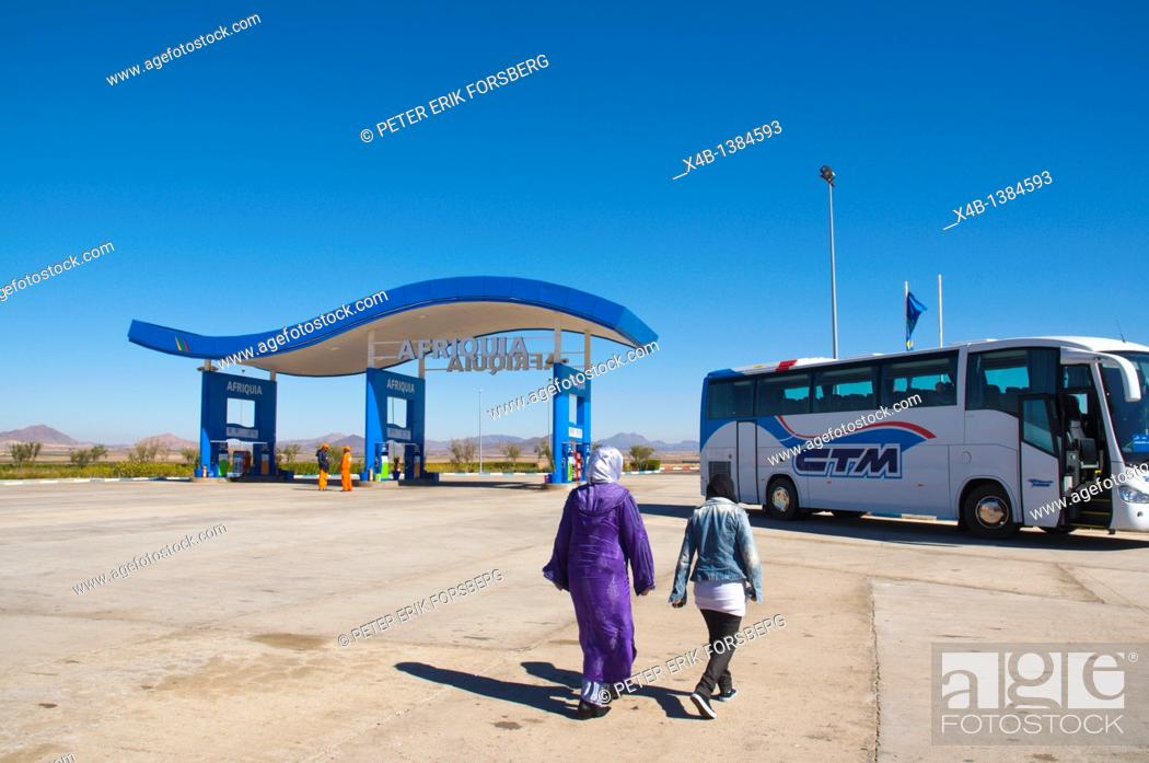 Stock Photo: Rest stop along motorway near Marrakech central Morocco northern Africa.