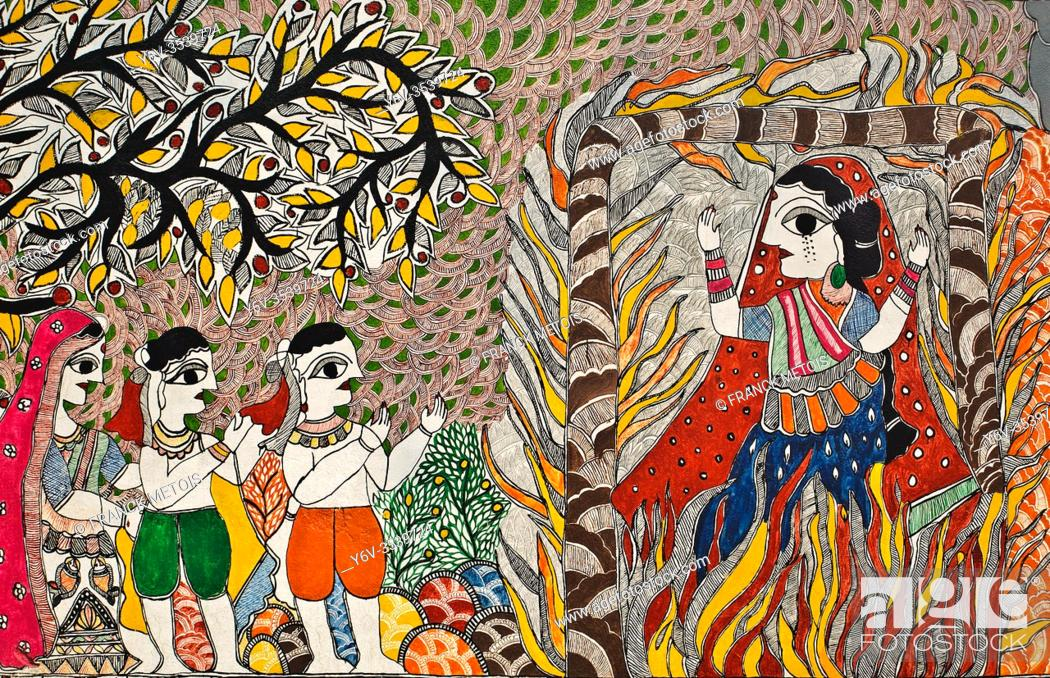 Stock Photo: Mural painting the Madhubani style ( Bihar, India). It is representing a sati ( a widow sacrifice by sitting atop the deceased husband's funeral pyre).