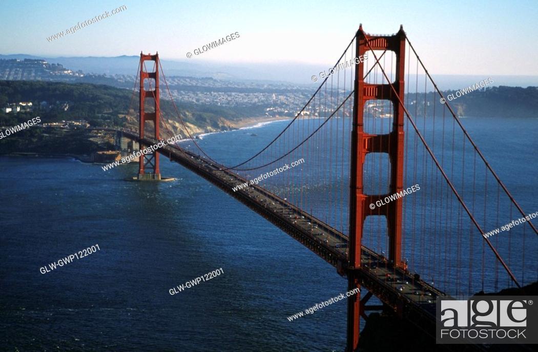 Stock Photo: Golden Gate Bridge, San Francisco, California, Aerial view.