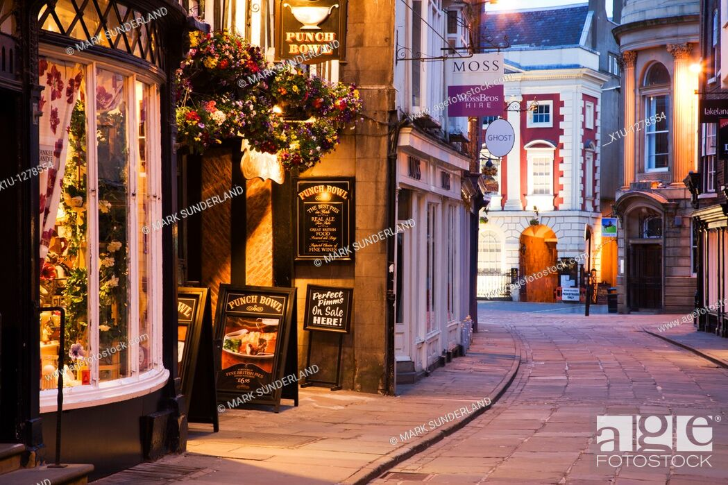 Stock Photo: Looking from Stonegate toward Mansion House York Yorkshire UK.
