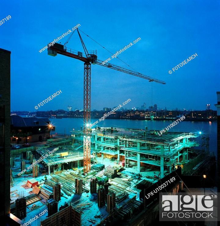 Stock Photo: Construction of residential apartment development.