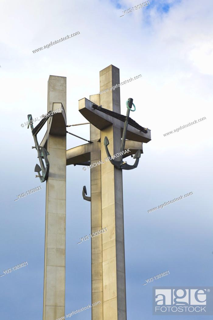 Stock Photo: Detail of the Monument to the Fallen Shipyard Workers of 1970 in Gdansk, Poland, near Shipyard in Gdansk.