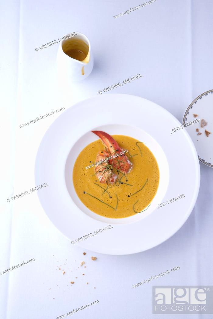 Stock Photo: Cream of lobster soup (USA).