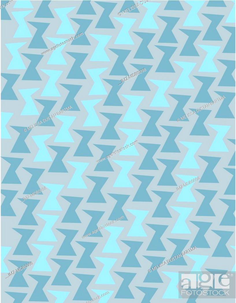 Stock Photo: Retro blue geometric shapes on a gray background.