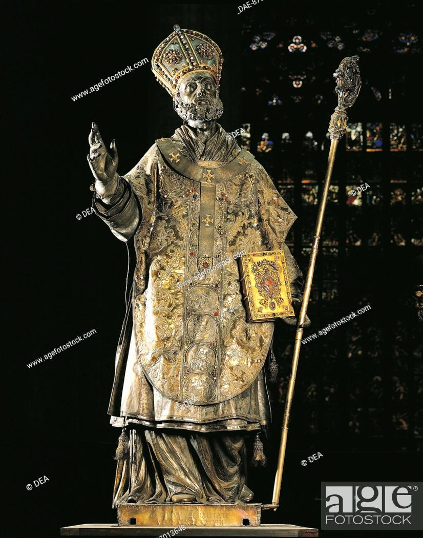 Stock Photo: St Ambrose statue, made of silver and set with precious stones, high altar of Milan Cathedral. Italy, 17th century.