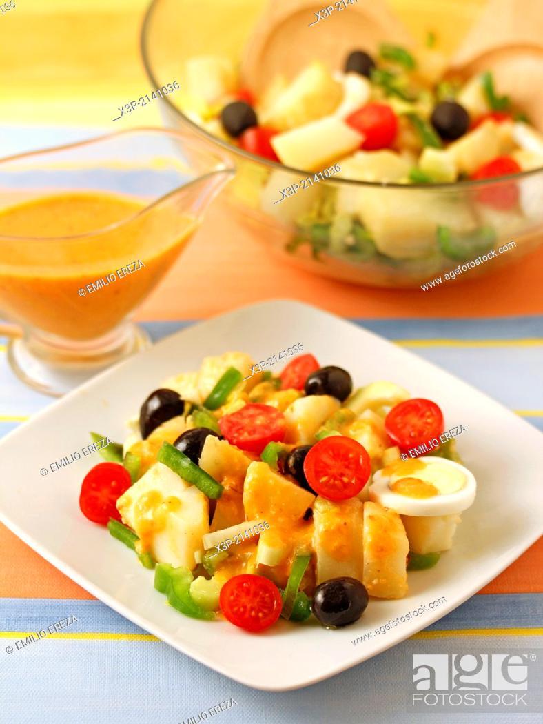 Stock Photo: Potato salad with romesco sauce.