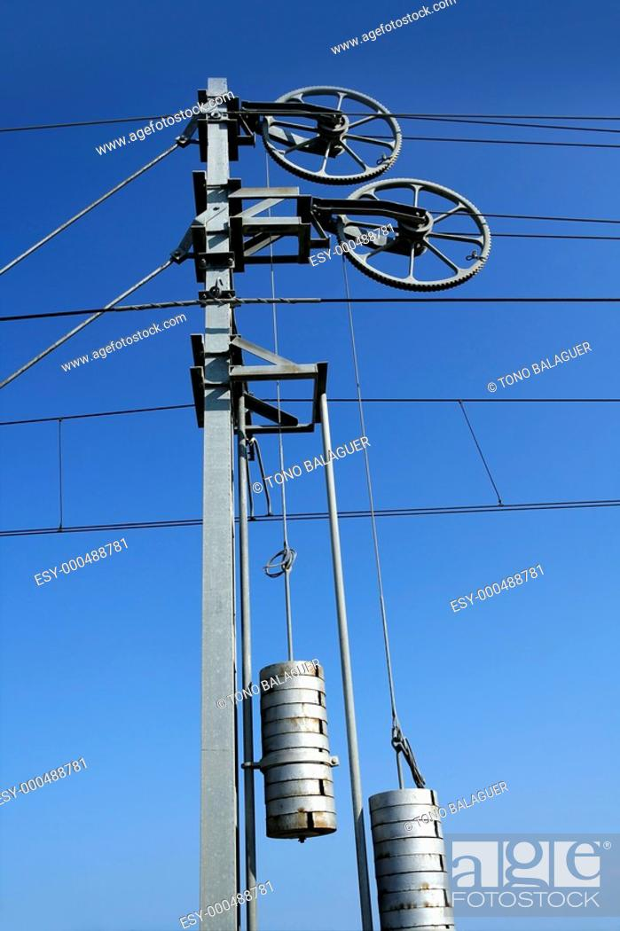 Photo de stock: Cables and pole tower, electric train railway.