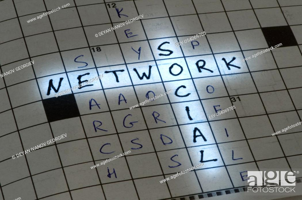 Stock Photo: Social network conception text in crossword puzzle.
