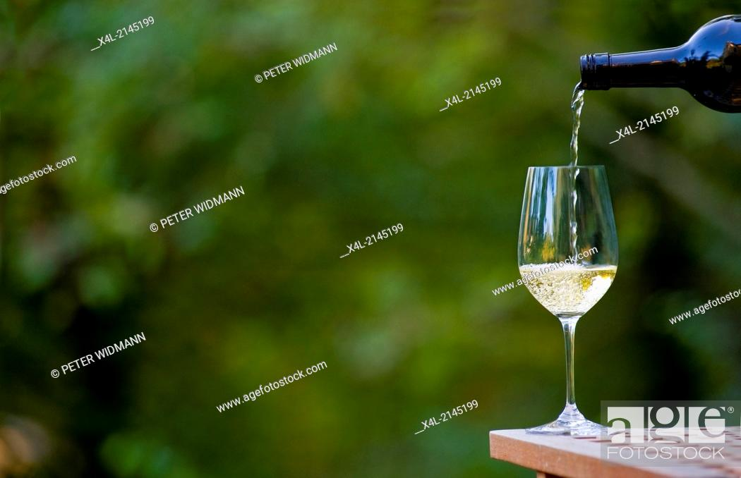 Stock Photo: wine glass with bottle.