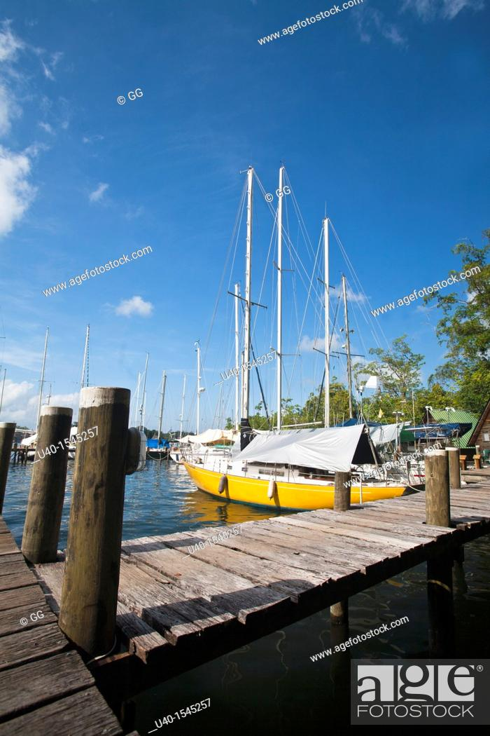 Stock Photo: Guatemala, Rio Dulce, sail boat.