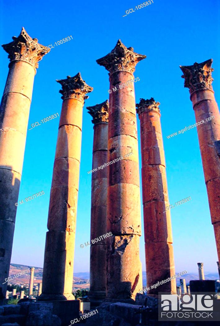 Stock Photo: Columns of the Temple of Artemis, Jerash, Jordan.