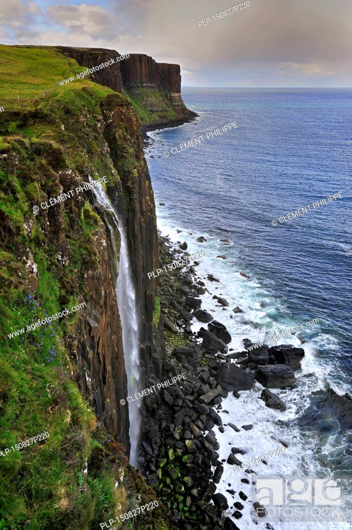 Stock Photo Mealt Waterfall At Kilt Rock A 200 Foot High Sea Cliff Of