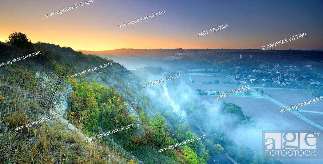 Stock Photo: Morning fog, view of the Saale valley, castle ruins Rudelsburg and Saaleck, near Bad Kösen, Burgenlandkreis, Saxony-Anhalt, Germany.