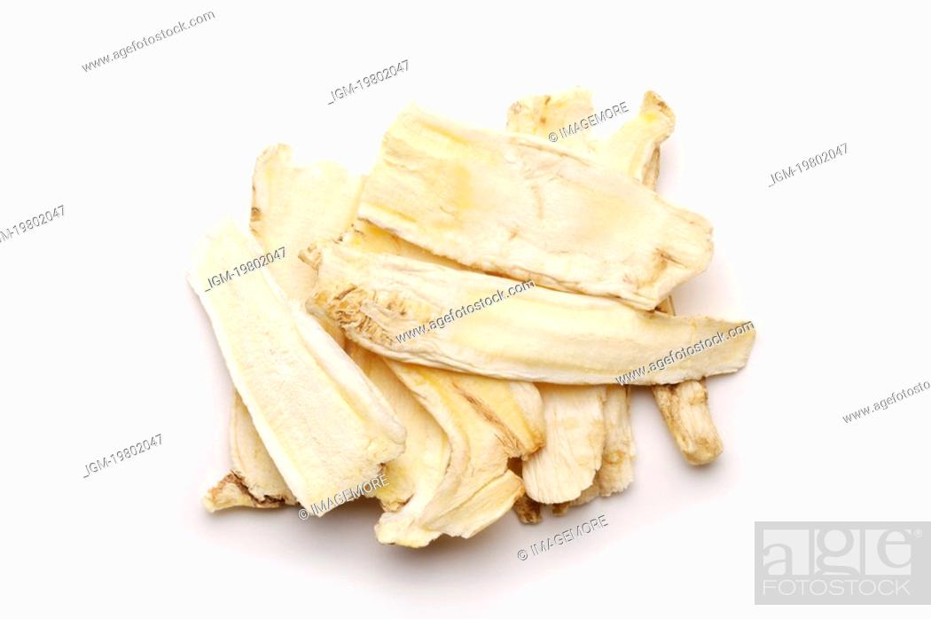 Stock Photo: Heaps of chinese medicine: Platycodon roots.