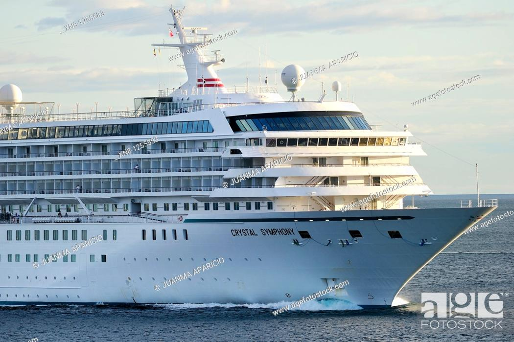 Stock Photo: Luxury Cruise Crystal Symphony to its entry into the Port of Bilbao.