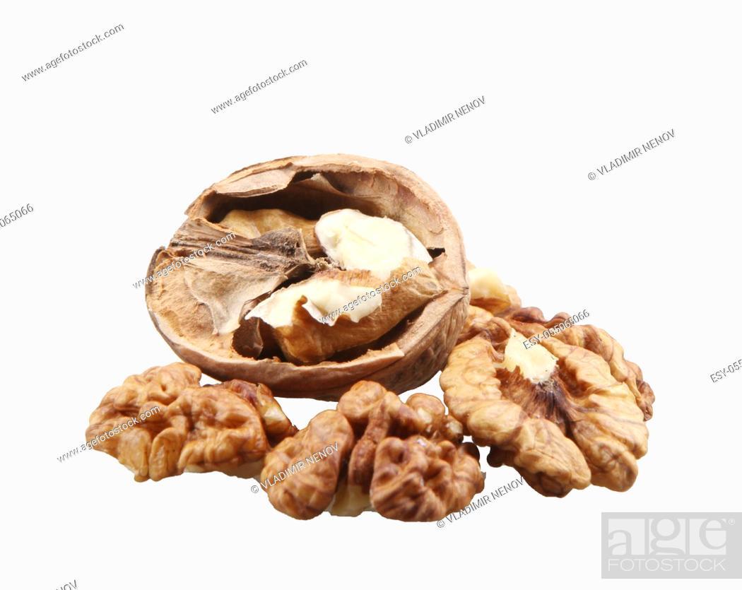 Stock Photo: Walnuts Isolated On White Background.