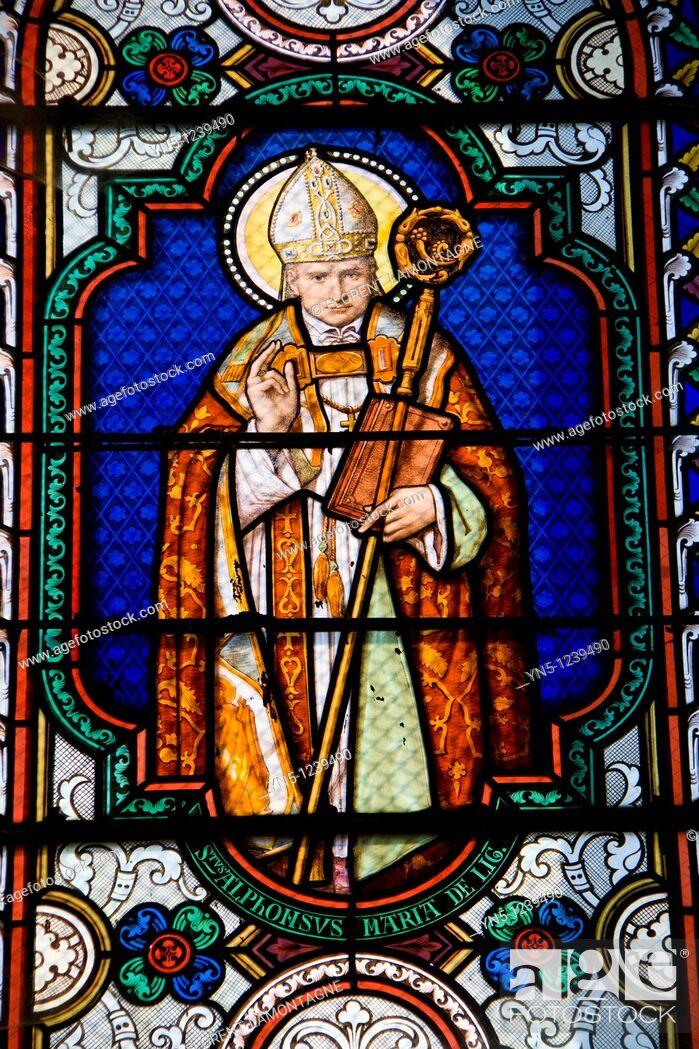 Stock Photo: Alphonsus de Liguori (1696-1787), Saint Alphonse, Italian pope. Stained  glass window in the Church of Saint Hilaire de Licheres, Region Centre (Berry).